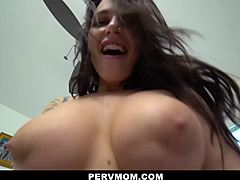 PervMom - delicious Tattooed Cougar catches Her biggest bazookas fucked